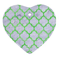 Tile1 (r) White Marble & Green Watercolor Heart Ornament (two Sides)