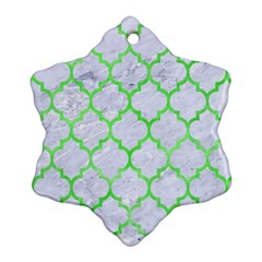 Tile1 (r) White Marble & Green Watercolor Snowflake Ornament (two Sides)