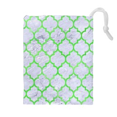 Tile1 (r) White Marble & Green Watercolor Drawstring Pouches (extra Large)