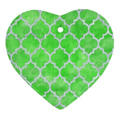 Tile1 White Marble & Green Watercolor Heart Ornament (two Sides)