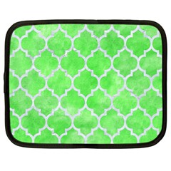 Tile1 White Marble & Green Watercolor Netbook Case (xl)