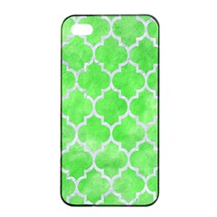 Tile1 White Marble & Green Watercolor Apple Iphone 4/4s Seamless Case (black)
