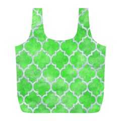 Tile1 White Marble & Green Watercolor Full Print Recycle Bags (l)