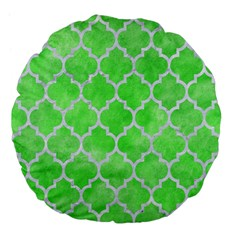Tile1 White Marble & Green Watercolor Large 18  Premium Flano Round Cushions