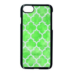 Tile1 White Marble & Green Watercolor Apple Iphone 8 Seamless Case (black)
