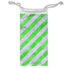 Stripes3 White Marble & Green Watercolor (r) Jewelry Bags