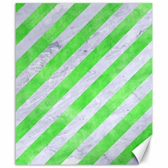 Stripes3 White Marble & Green Watercolor (r) Canvas 20  X 24