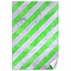 Stripes3 White Marble & Green Watercolor (r) Canvas 20  X 30