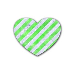 Stripes3 White Marble & Green Watercolor (r) Heart Coaster (4 Pack)