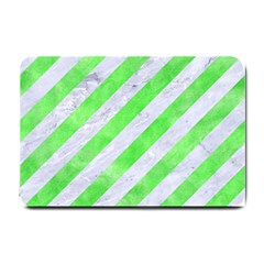 Stripes3 White Marble & Green Watercolor (r) Small Doormat