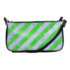 Stripes3 White Marble & Green Watercolor (r) Shoulder Clutch Bags