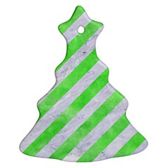 Stripes3 White Marble & Green Watercolor (r) Christmas Tree Ornament (two Sides)