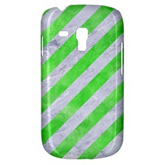 Stripes3 White Marble & Green Watercolor (r) Samsung Galaxy S3 Mini I8190 Hardshell Case
