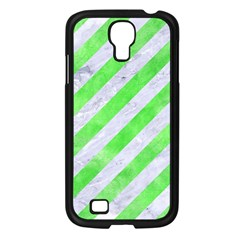 Stripes3 White Marble & Green Watercolor (r) Samsung Galaxy S4 I9500/ I9505 Case (black)