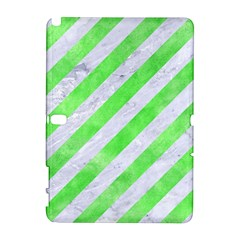 Stripes3 White Marble & Green Watercolor (r) Samsung Galaxy Note 10 1 (p600) Hardshell Case