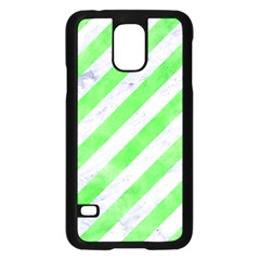 Stripes3 White Marble & Green Watercolor (r) Samsung Galaxy S5 Case (black)
