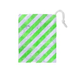 Stripes3 White Marble & Green Watercolor (r) Drawstring Pouches (medium)