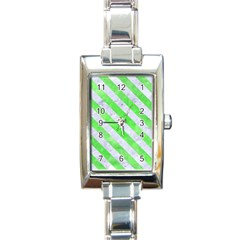 Stripes3 White Marble & Green Watercolor Rectangle Italian Charm Watch
