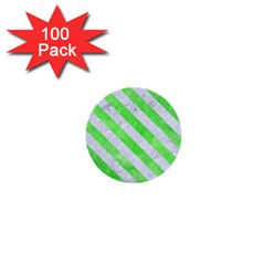 Stripes3 White Marble & Green Watercolor 1  Mini Buttons (100 Pack)