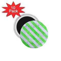 Stripes3 White Marble & Green Watercolor 1 75  Magnets (10 Pack)  by trendistuff