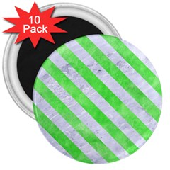 Stripes3 White Marble & Green Watercolor 3  Magnets (10 Pack)