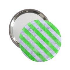 Stripes3 White Marble & Green Watercolor 2 25  Handbag Mirrors