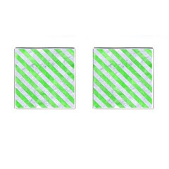 Stripes3 White Marble & Green Watercolor Cufflinks (square) by trendistuff