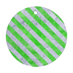 Stripes3 White Marble & Green Watercolor Round Ornament (two Sides)