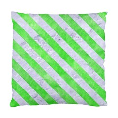 Stripes3 White Marble & Green Watercolor Standard Cushion Case (one Side)
