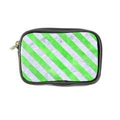 Stripes3 White Marble & Green Watercolor Coin Purse