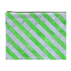 Stripes3 White Marble & Green Watercolor Cosmetic Bag (xl)