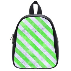 Stripes3 White Marble & Green Watercolor School Bag (small)