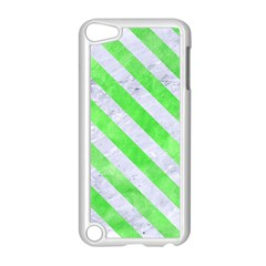 Stripes3 White Marble & Green Watercolor Apple Ipod Touch 5 Case (white)