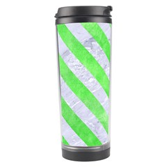Stripes3 White Marble & Green Watercolor Travel Tumbler