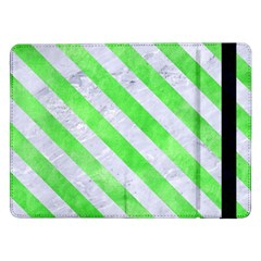 Stripes3 White Marble & Green Watercolor Samsung Galaxy Tab Pro 12 2  Flip Case