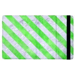 Stripes3 White Marble & Green Watercolor Apple Ipad Pro 12 9   Flip Case