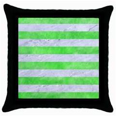 Stripes2 White Marble & Green Watercolor Throw Pillow Case (black)
