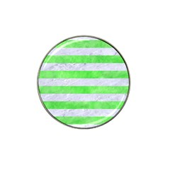 Stripes2 White Marble & Green Watercolor Hat Clip Ball Marker