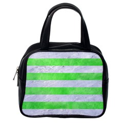 Stripes2 White Marble & Green Watercolor Classic Handbags (one Side)
