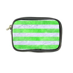 Stripes2 White Marble & Green Watercolor Coin Purse