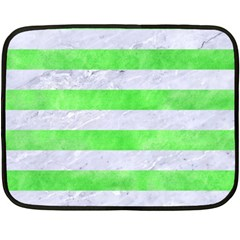 Stripes2 White Marble & Green Watercolor Double Sided Fleece Blanket (mini)