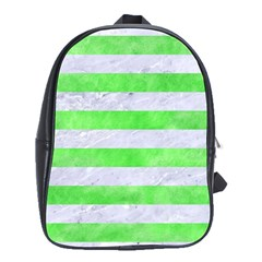 Stripes2 White Marble & Green Watercolor School Bag (large)