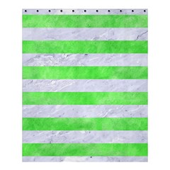 Stripes2 White Marble & Green Watercolor Shower Curtain 60  X 72  (medium)