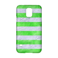 Stripes2 White Marble & Green Watercolor Samsung Galaxy S5 Hardshell Case