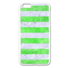 Stripes2 White Marble & Green Watercolor Apple Iphone 6 Plus/6s Plus Enamel White Case