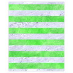 Stripes2 White Marble & Green Watercolor Drawstring Bag (small)
