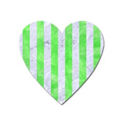 Stripes1 White Marble & Green Watercolor Heart Magnet