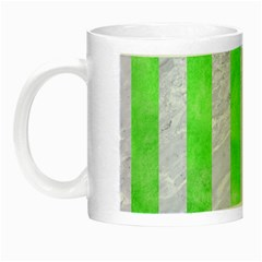 Stripes1 White Marble & Green Watercolor Night Luminous Mugs