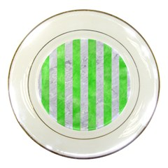 Stripes1 White Marble & Green Watercolor Porcelain Plates