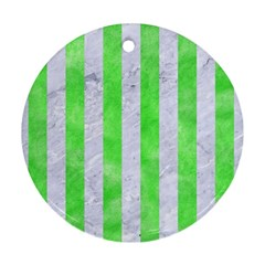 Stripes1 White Marble & Green Watercolor Round Ornament (two Sides)
